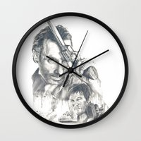 the walking dead Wall Clocks featuring Walking Dead by Heather Andrewski