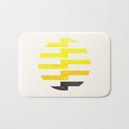 Minimalist Mid Century Circle Frame Yellow Zig Zag Colorful Lightning Bolt Geometric Pattern Bath Mat