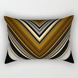Retro Triangles Pattern in black, grey, yellow and brown Rectangular Pillow