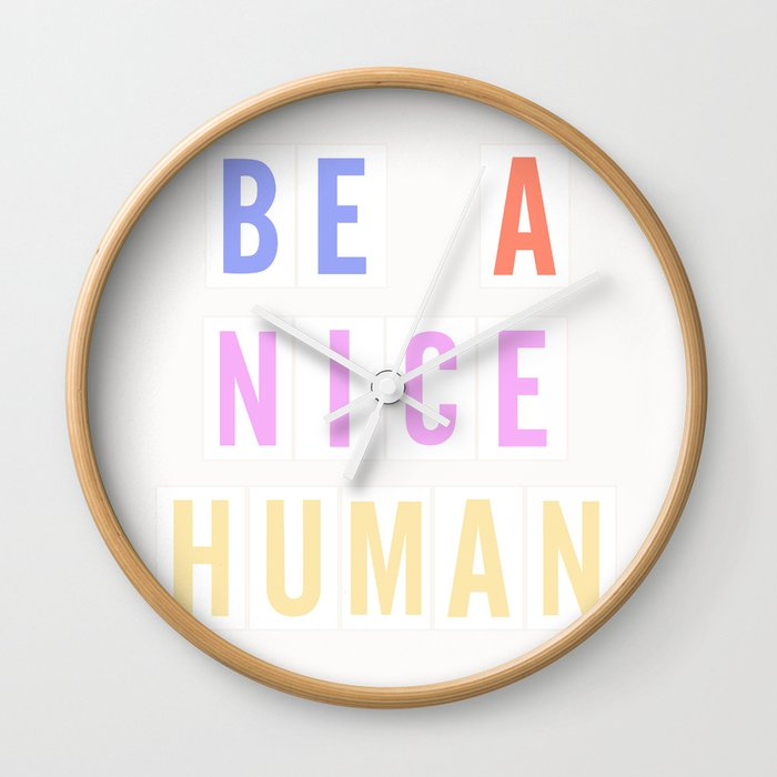 Be a Nice Human - Neon Sign Wall Clock