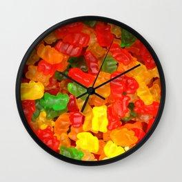 red orange yellow colorful gummy bear Wall Clock