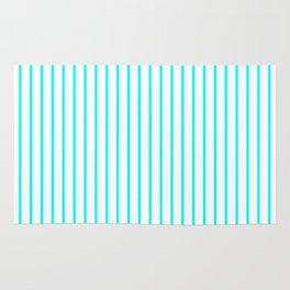 Vertical Lines (Aqua Cyan/White) Rug