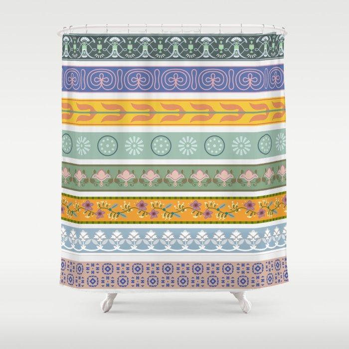 Vintage Ornament Pattern Shower Curtain