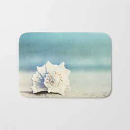 Seashell on Beach Photography, Aqua Blue Shell Coastal Photo, Teal Turquoise Ocean Seashore Bath Mat