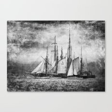black and white ship Canvas Print