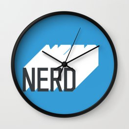 Retro Nerd Blue Wall Clock