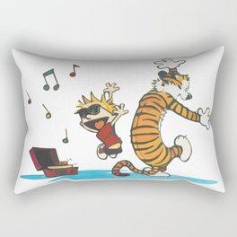 Hobbes Dancing with Vinyl Phonograph, Cute Artwork, Tshirts, Art Posters, Prints, Bags, Men, Women, Rectangular Pillow