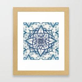 Blue Floral Pattern on Cream Framed Art Print