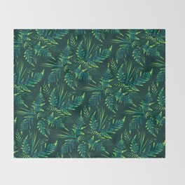 Fern leaves - green Throw Blanket