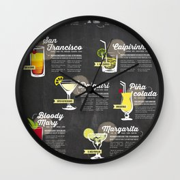 Cocktail Guide Wall Clock