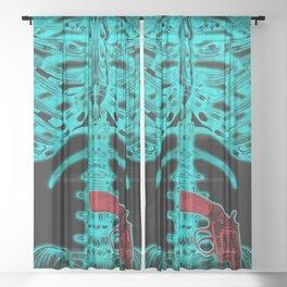 Human Xray with Gun Sheer Curtain