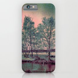Abstract Winter Landscape, Sun and Birch Trees iPhone Case