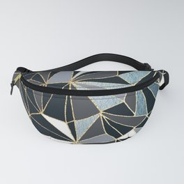 Stylish Art Deco Geometric Pattern - Black, blue, Gold #abstract #pattern Fanny Pack