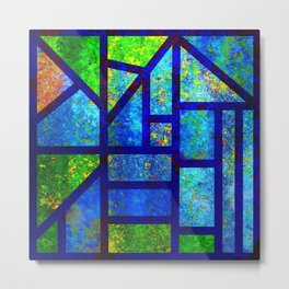 Art Deco Colorful Stained Glass Mosaic Metal Print