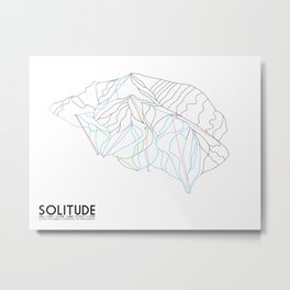 Solitude, UT - Minimalist Winter Trail Art Metal Print