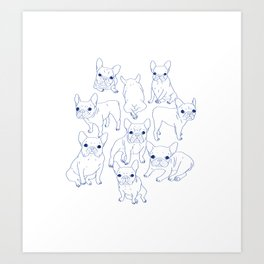 Hand Drawn Cute Frenchies Collage Art Print