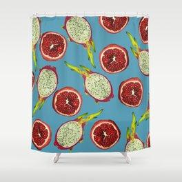 Pomegranate - Dragon Fruit Pattern turquoise Shower Curtain