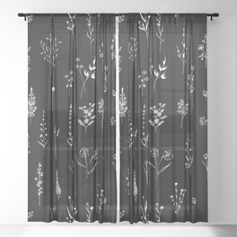 Black wildflowers Sheer Curtain