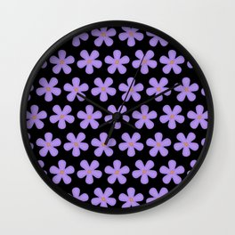 Purple Flowes Wall Clock