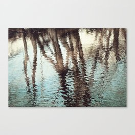 Blue Brown Abstract Water Reflections Photography, Water Ripples Tree Lake Reflection Photo Canvas Print