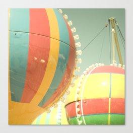 Up Up & Away I Carnival, fair, ride, hot air balloon, whimsical, fun rainbow, adventure, pastel,  Canvas Print