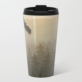 mountain forest in fog and sunrise with stars Travel Mug
