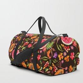 Tropical Fruit Festival in Black | Frutas Tropicales en Negro Duffle Bag