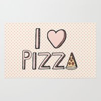 nutella Area & Throw Rugs featuring I Love Pizza by Tangerine-Tane