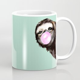 Bubble Gum Sneaky Sloth in Green Coffee Mug
