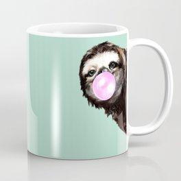 Bubble Gum Sneaky Sloth in Green Coffee Mug
