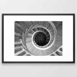 Spiraling Down...the Stairs ~ Monochrome Photograph Framed Art Print