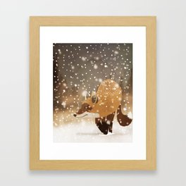 Sneaky smart fox in snowy forest winter snowflakes drawing Framed Art Print