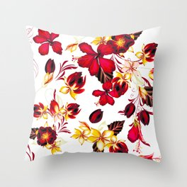 t red flowers Throw Pillow