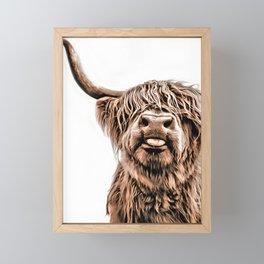 Funny Higland Cattle Framed Mini Art Print