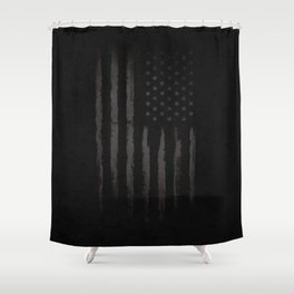 Black American flag Shower Curtain