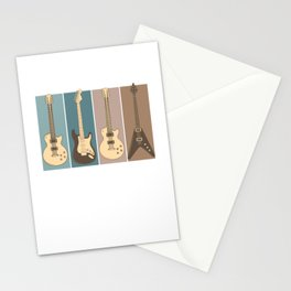 Retro Style Vintage Electric Guitars Guitarist Stationery Cards