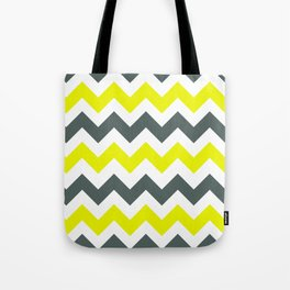 Chevron Pattern In Limelight Yellow Grey and White Tote Bag