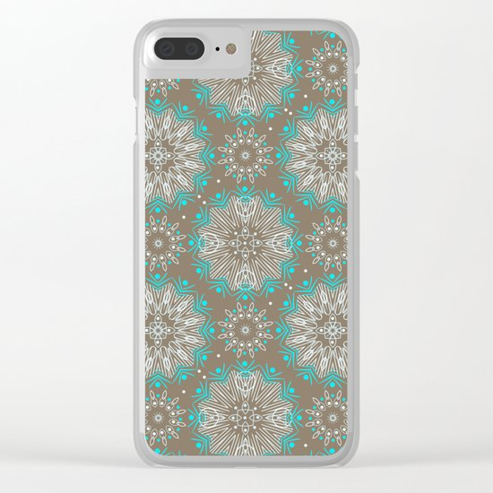 Brown turquoise bling . Clear iPhone Case