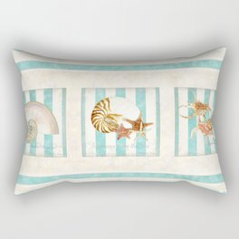 Starfish Nautilus Lambis Chiragra Modern Ocean Shell Beach Striped Rectangular Pillow