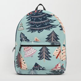 Christmas vector seamless pattern with rustic Xmas trees in hipster style Backpack