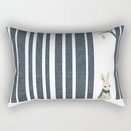 Winter Scene with Rabbit (Chasing the White Rabbit) Rectangular Pillow