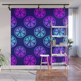 Tropical exotic moody neon blue and pink grapefruit citrus slices decorative summer fruity dark navy blue whimsical cute pattern design. Wall Mural