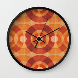Mid century orange circles Wall Clock