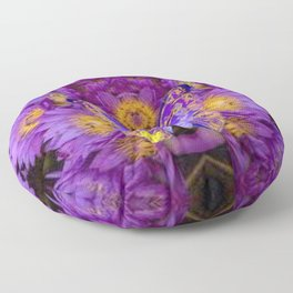 PURPLE WATER LILIES BUTTERFLY DESIGN Floor Pillow