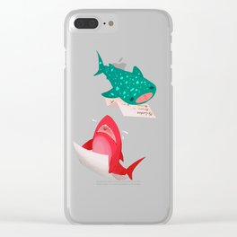 Pink Shark and Whale Shark Clear iPhone Case