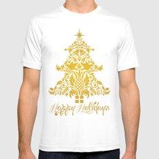 Ornate Pineapple Holiday Tree Mens Fitted Tee White MEDIUM