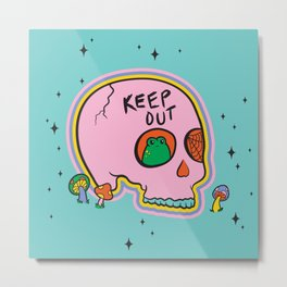 Keep Out Frog Skull Metal Print