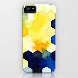 Yellow and Blue Honeycombs iPhone Case