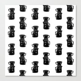 Pour Over Coffee linocut black and white pattern foodie kitchen art Canvas Print