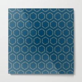 Eucalyptus Patterns with Blue Background Realistic Botanic Patterns Organic & Geometric Patterns Metal Print